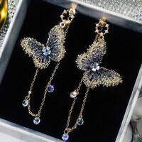 Fashion Embroidery Butterfly Crystal Long Tassel Drop Dangle Earrings Jewelry L7