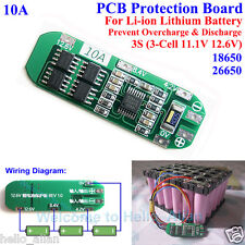10A BMS Protection PCB Board for 3 Packs 18650 Li-ion lithium Battery Cell 3S