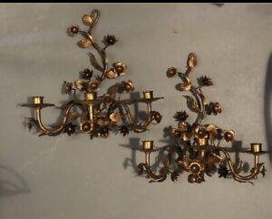 2 Antike Wandkerzenhalter, Wandleuchter, Messing brüniert, Antik