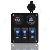 12V-24V Car Boat Marine 3-Gang Switch Panel Rocker Switch - Voltmeter+USB Port