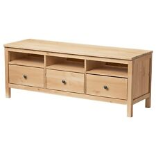 IKEA Solid Pine Timber Wood TV Stand Cabinet Bench 3 Drawer Entertainment Unit