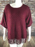 New NY Collection Womens Moroon Textured Long Sleeve Sweater Sz 1X Fringe NWT