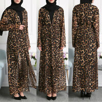 Fashion Women Dubia Style Open Front Abaya Jilbab Muslim Islamic Maxi Dress NEW