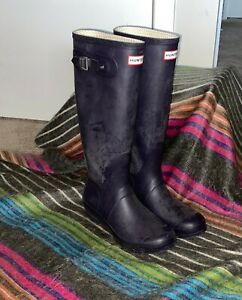 Hunter Original Women's Tall Rain Boots US Size 9 - Purple