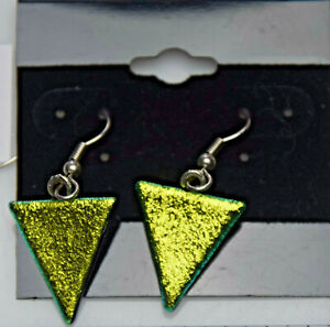 Made In USA Fused Dichroic Glass Earrings E8