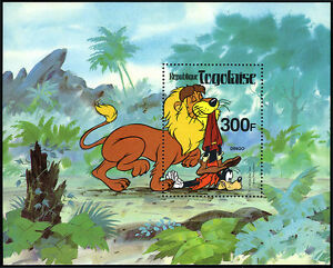 Togo 1072 S/s, MNH. Walt Disney characters. Lion and Goofy, 1980