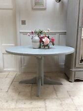Vintage Painted Pine Round Pedestal Dining Table - Annie Sloan Paris Grey