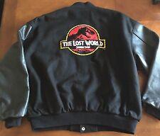 Rare! Black THE LOST WORLD JURASSIC PARK Varsity Letterman Jacket Sz XL Amblin