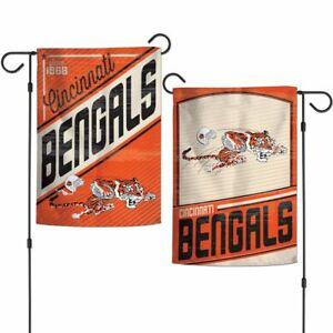 "CINCINNATI BENGALS 2 SIDED RETRO GARDEN FLAG 12""X18"" YARD BANNER NFL LICENSED"