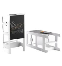 Kitchen Step Stool & Chalkboard Desk for Toddlers-Easily Turns Learning Helper