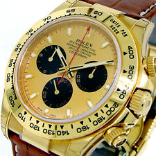 UNWORN ROLEX DAYTONA 116518 18K YELLOW GOLD CHAMPAGNE PAUL NEWMAN BROWN STRAP