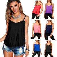 Plain Cami Swing Vest Top Strappy Sleeveless Flared Plus Size Womens Vests Tops