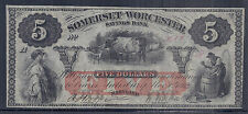 19th Century US Obsolete Currency - Somerset & Worcester Savings, $5 Unc*