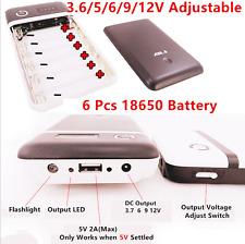 Mobile Power Bank USB DC 6x18650 Battery Charger Car Jump Starter 3.6/5/6/9/12V