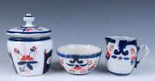 3 Piece Antique Gaudy Welsh Sugar Bowl Creamer Staffordshire Ironstone Porcelain