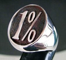 1% Bikers Patch Ring .925 Sterling Silver Round Face BB06/S