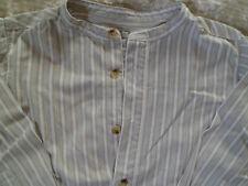 Chemise garçon col tunisien rayures blanc/gris/kaki, 6ans WAKI