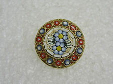 VINTAGE ITALIAN GLASS BEAD MILIFORIE MICRO MOSAIC FLORAL PIN/BROOCH N464-L