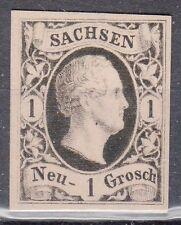 Saxony, Sc#5, VF NG, 1 Ngr Black Proof on Rose tinted card, Mi#4P4, *RARE*