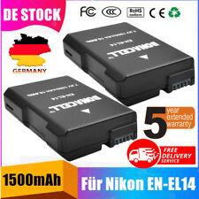 2X 1500mAh EN-EL14 Akku Für Nikon D3100 D3200 D5100 D5200 D5300 D3300 DF Kamera