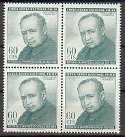 Chile 1964 Sc# C258 Airmail Carlos Casanueva block 4 MNH