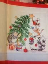 (X5) Margaret SHERRY chat souris Hérisson Robin Tree christmas cross stitch chart