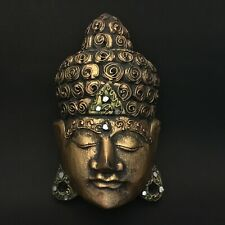 Buddha Face Gold Bali Wooden Mask Hand Carved Wall Art Sculpture Hanging