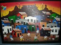 "Gemälde ""Cape Town"", naive Malerei aus Südafrika"