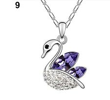 FREE GIFT BAG Silver Plated Rhinestone Crystal Swan Necklace Chain Jewellery