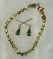 "Peridot Green Rhinestone Jewelry Set 18-22"" Fashion Doll Miss Revlon Cissy Toni"