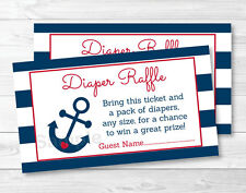 Nautical Anchor Blue & Red Printable Baby Shower Diaper Raffle Tickets