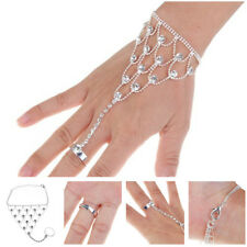 New Silver Clear White Crystal Rhinestone Wedding Slave Hand Chain Ring Bracelet