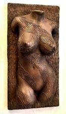 Sexy Erotic female nude torso tattoo covered copper wall sculpture home decor