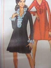 Vtg 1960's Simplicity RUFFLED V-NECK DRESS w/ TRUMPET SKIRT Sewing Pattern Women