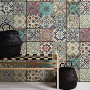 Moroccan/Croatian Style Tile Effect Wallpaper | Multicoloured