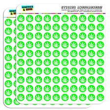 "Marijuana Pot Weed Leaf Green 0.5"" Scrapbooking Crafting Stickers"