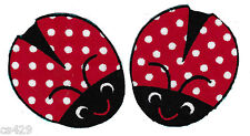 "1.5"" Ladybugs Insect Red White Polka Dot Set Fabric Applique Iron On"