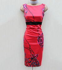 Exquisite Karen Millen Satin Red Black Floral Wiggle Cocktail Pencil Dress 8 UK
