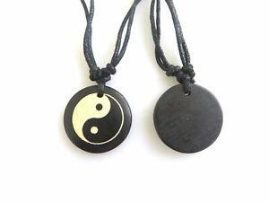 2Pcs Faux Yak Bone Round Chinese Yin Ying Yang Bagua Pendant Necklace Adjustable