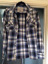 Stylish Superdry Mens Blue/white Check Long Sleeve Shirt Size Slim medium