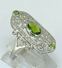 Peridot Ring Peridot & Zirkonia  925er Silber   Antik Style   # 54