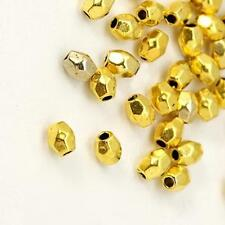 50 x Tibetan Silver Faceted Oval Spacer Beads - LF CF NF - 4mm  Gold Tone SP89