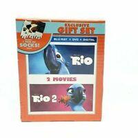 Rio & Rio 2 (Blu Ray,DVD,Digital) Exclusive Gift Set Includes 1 Pair Socks B.NEW
