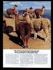 1982 llama herd Peru photo Faucett Peruvian Airlines vintage print ad