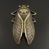 7X Vintage Style Bronze Tone Chic Cicada Pendant Charms Findings 55*34*7mm