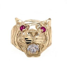 Mens Solid 10K Yellow Gold Tiger Head Ring Red Eyes Size 9.5
