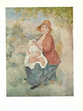 "1960 Vintage RENOIR ""MOTHER AND CHILD"" BREASTFEEDING COLOR offset Lithograph"