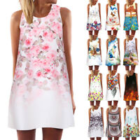 UK Womens Summer Holiday Sleeveless Beach Short Mini Dress Ladies Tops T Shirt