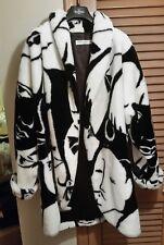 Vintage DONNYBROOK Faux Fur RIHANNA Over Sized Coat FACE PRINT Black/White Sz L