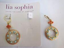 lia sophia ALICANTE earring-gold matte hoop drop dangle